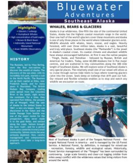 Bluewater Adventures trip brochure for the Southeast Alaska