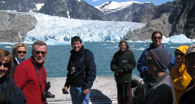 Guest in front of LeConte Glacier