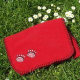 red fleece scarf with bear paw print